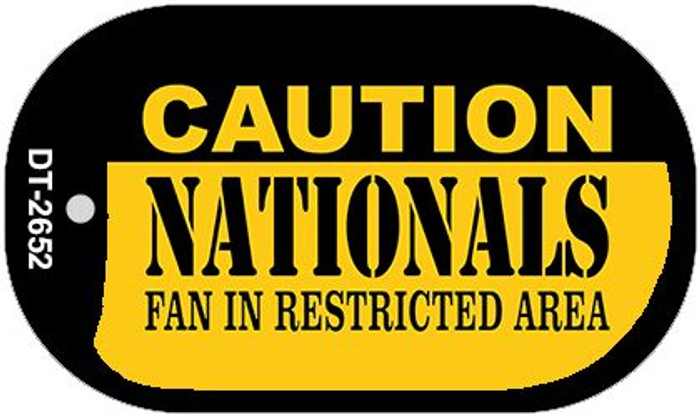 Caution Nationals Fan Area Novelty Metal Dog Tag Necklace DT-2652