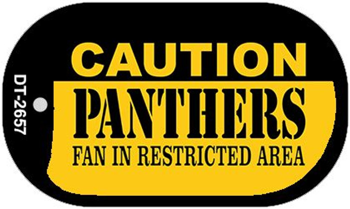 Caution Panthers Fan Area Novelty Metal Dog Tag Necklace DT-2657