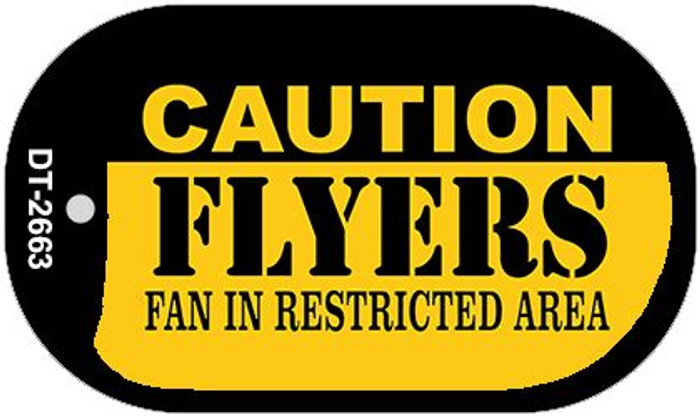 Caution Flyers Fan Area Novelty Metal Dog Tag Necklace DT-2663