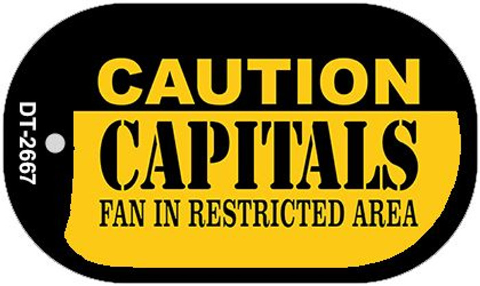 Caution Capitals Fan Area Novelty Metal Dog Tag Necklace DT-2667