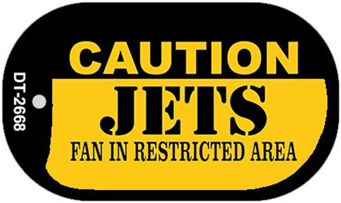 Caution Jets Fan Area Novelty Metal Dog Tag Necklace DT-2668