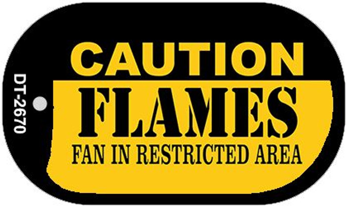 Caution Flames Fan Area Novelty Metal Dog Tag Necklace DT-2670