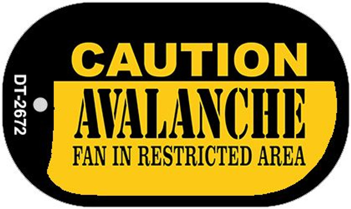 Caution Avalanche Fan Area Novelty Metal Dog Tag Necklace DT-2672