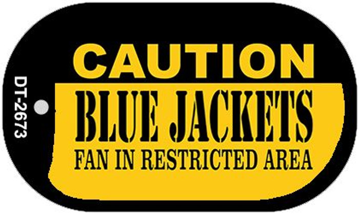 Caution Blue Jackets Fan Area Novelty Metal Dog Tag Necklace DT-2673