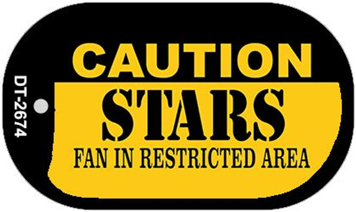 Caution Stars Fan Area Novelty Metal Dog Tag Necklace DT-2674