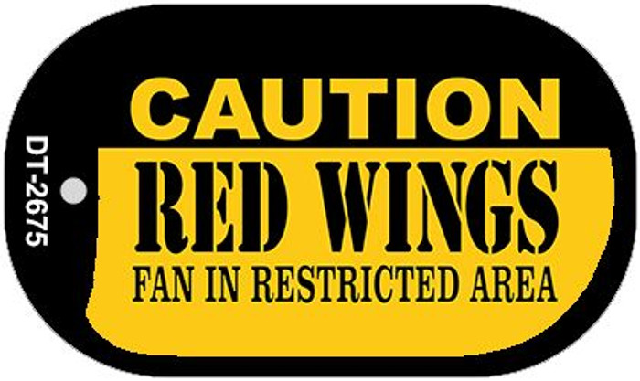 Caution Red Wings Fan Area Novelty Metal Dog Tag Necklace DT-2675