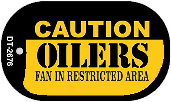 Caution Oilers Fan Area Novelty Metal Dog Tag Necklace DT-2676