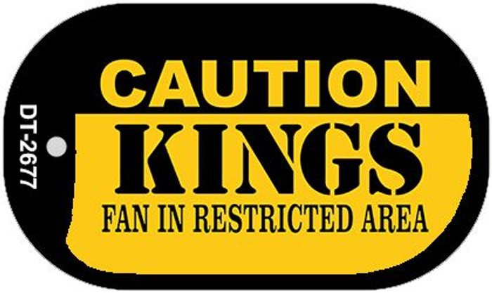 Caution Kings Fan Area Novelty Metal Dog Tag Necklace DT-2677