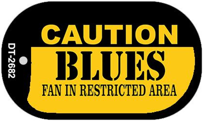 Caution Blues Fan Area Novelty Metal Dog Tag Necklace DT-2682