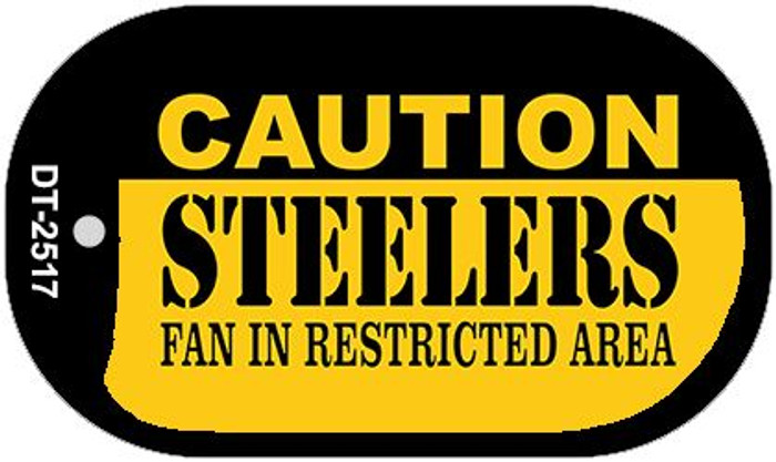 Caution Steelers Fan Area Novelty Metal Dog Tag Necklace DT-2517