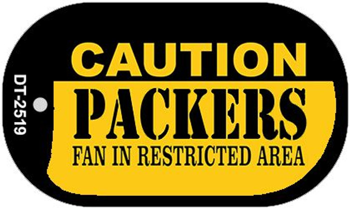 Caution Packers Fan Area Novelty Metal Dog Tag Necklace DT-2519