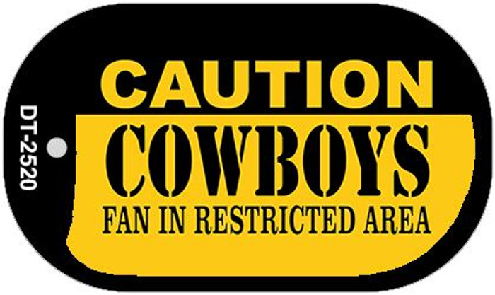 Caution Cowboys Fan Area Novelty Metal Dog Tag Necklace DT-2520