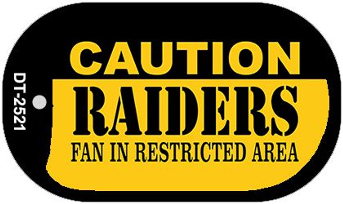 Caution Raiders Fan Area Novelty Metal Dog Tag Necklace DT-2521