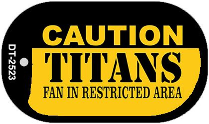 Caution Titans Fan Area Novelty Metal Dog Tag Necklace DT-2523