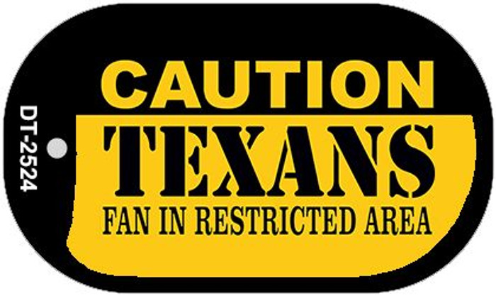 Caution Texans Fan Area Novelty Metal Dog Tag Necklace DT-2524