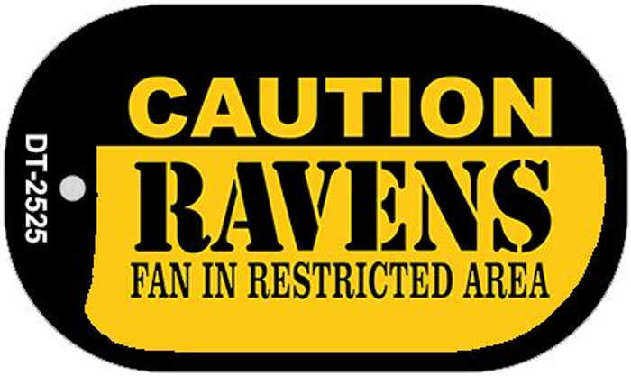 Caution Ravens Fan Area Novelty Metal Dog Tag Necklace DT-2525