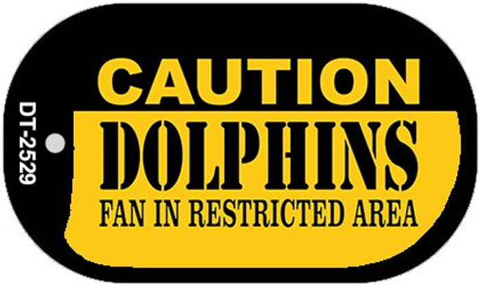 Caution Dolphins Fan Area Novelty Metal Dog Tag Necklace DT-2529