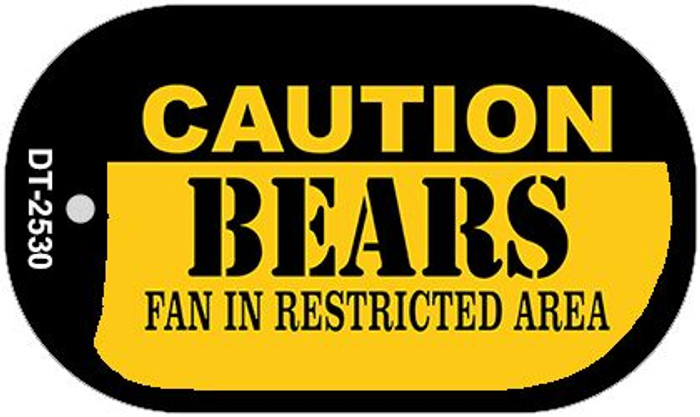 Caution Bears Fan Area Novelty Metal Dog Tag Necklace DT-2530
