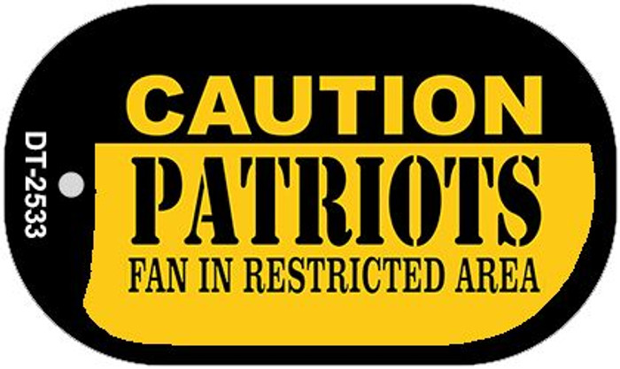 Caution Patriots Fan Area Novelty Metal Dog Tag Necklace DT-2533