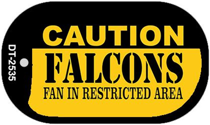 Caution Falcons Fan Area Novelty Metal Dog Tag Necklace DT-2535