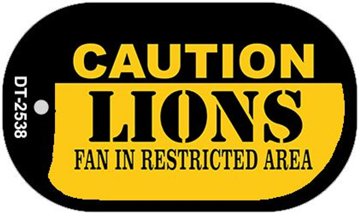 Caution Lions Fan Area Novelty Metal Dog Tag Necklace DT-2538