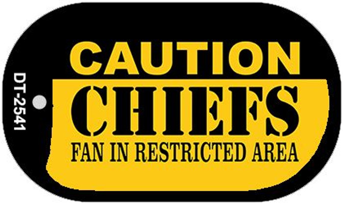 Caution Chiefs Fan Area Novelty Metal Dog Tag Necklace DT-2541
