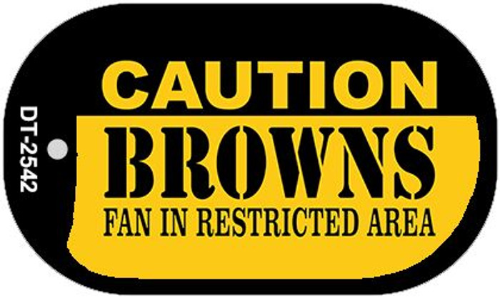 Caution Browns Fan Area Novelty Metal Dog Tag Necklace DT-2542