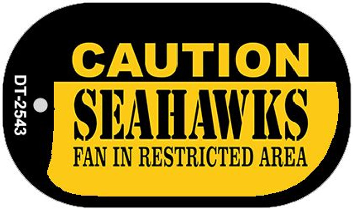 Caution Seahawks Fan Area Novelty Metal Dog Tag Necklace DT-2543