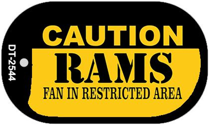 Caution Rams Fan Area Novelty Metal Dog Tag Necklace DT-2544
