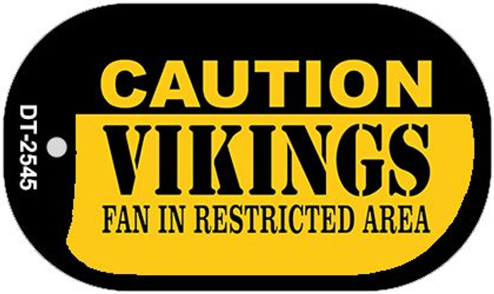 Caution Vikings Fan Area Novelty Metal Dog Tag Necklace DT-2545