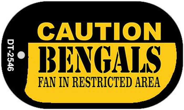 Caution Bengals Fan Area Novelty Metal Dog Tag Necklace DT-2546