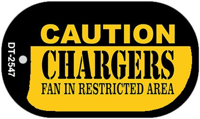 Caution Chargers Fan Area Novelty Metal Dog Tag Necklace DT-2547