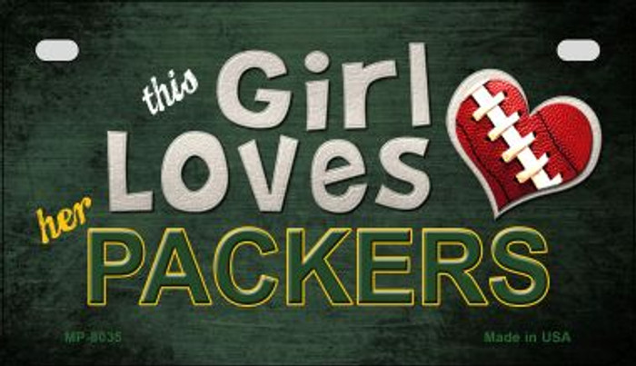 This Girl Loves Her Packers Novelty Metal Motorcycle Plate MP-8035
