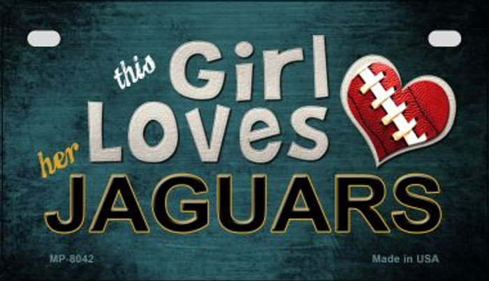 This Girl Loves Her Jaguars Novelty Metal Motorcycle Plate MP-8042