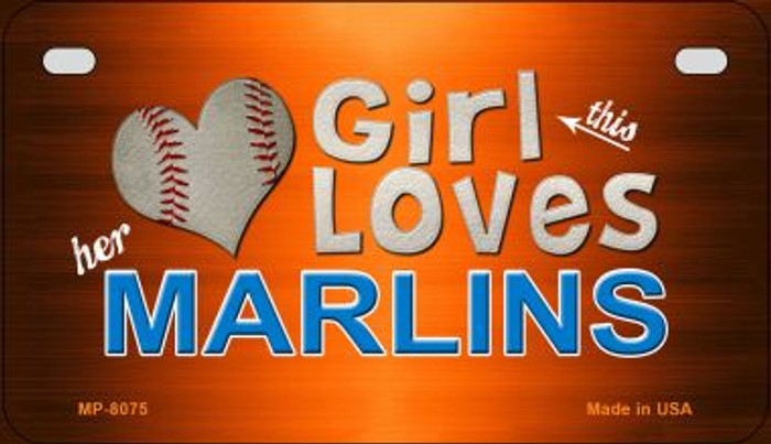 This Girl Loves Her Marlins Novelty Metal Motorcycle Plate MP-8075