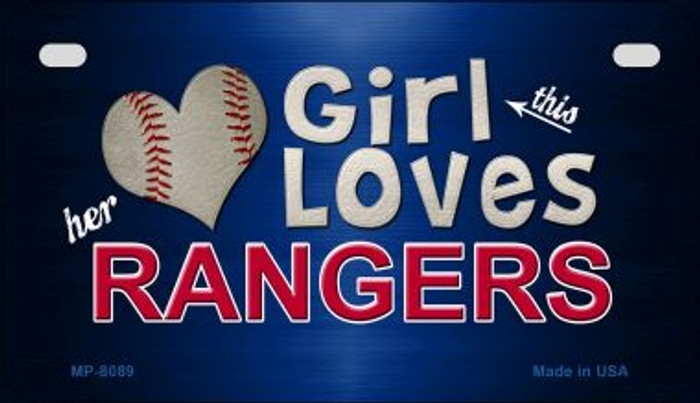 This Girl Loves Her Rangers Novelty Metal Motorcycle Plate MP-8089
