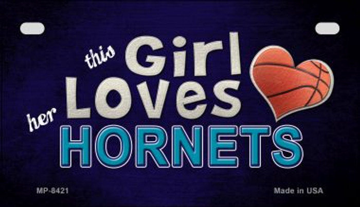 This Girl Loves Her Hornets Novelty Metal Motorcycle Plate MP-8421