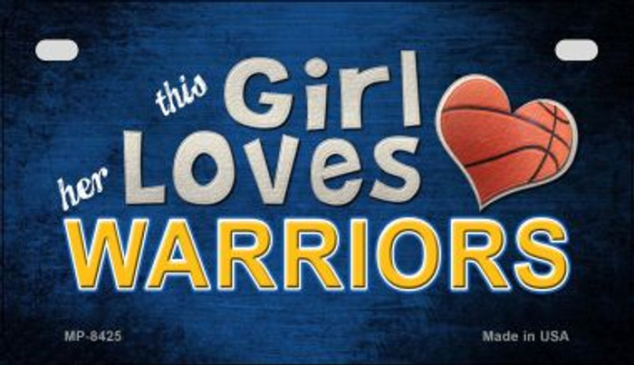 This Girl Loves Her Warriors Novelty Metal Motorcycle Plate MP-8425