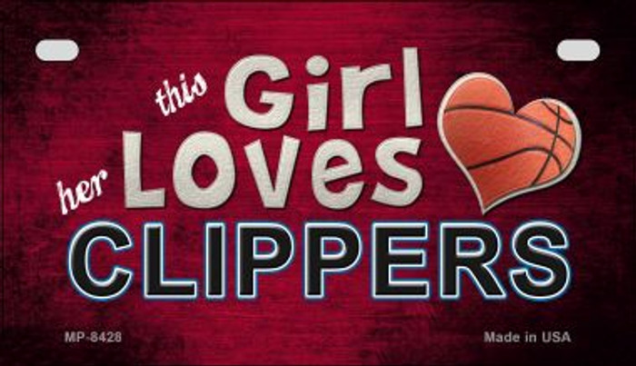 This Girl Loves Her Clippers Novelty Metal Motorcycle Plate MP-8428