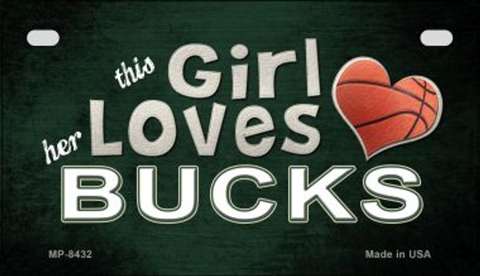 This Girl Loves Her Bucks Novelty Metal Motorcycle Plate MP-8432