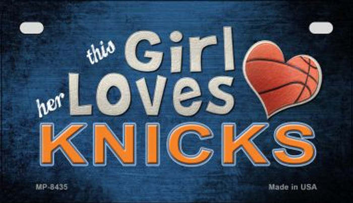 This Girl Loves Her Knicks Novelty Metal Motorcycle Plate MP-8435
