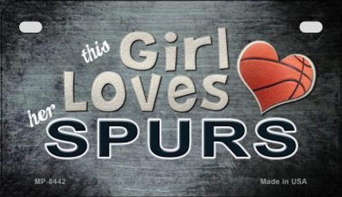 This Girl Loves Her Spurs Novelty Metal Motorcycle Plate MP-8442