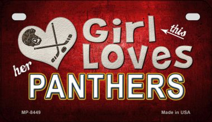 This Girl Loves Her Panthers Novelty Metal Motorcycle Plate MP-8449