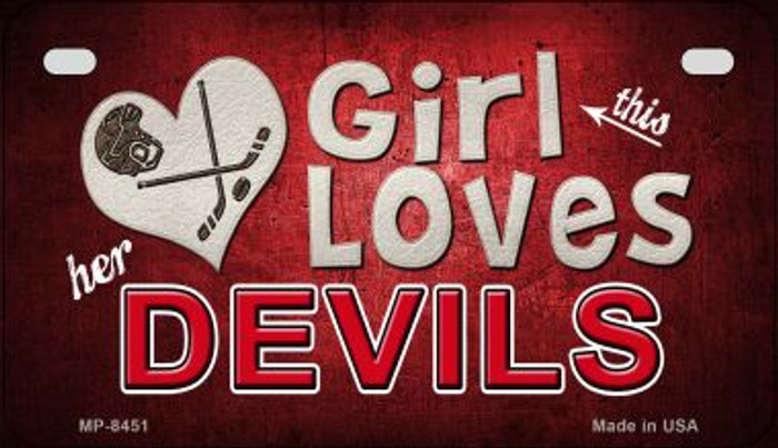 This Girl Loves Her Devils Novelty Metal Motorcycle Plate MP-8451