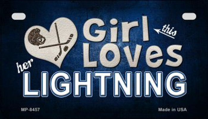This Girl Loves Her Lightning Novelty Metal Motorcycle Plate MP-8457