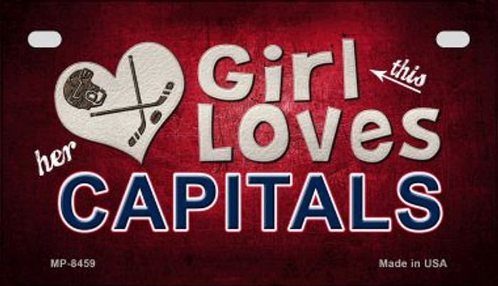 This Girl Loves Her Capitals Novelty Metal Motorcycle Plate MP-8459