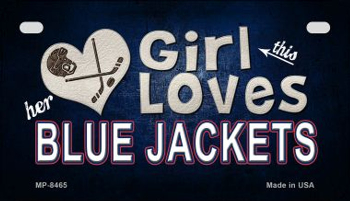 This Girl Loves Her Blue Jackets Novelty Metal Motorcycle Plate MP-8465
