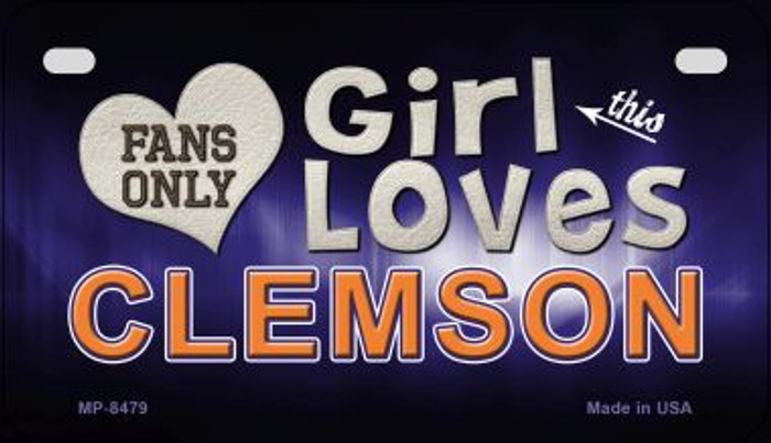 This Girl Loves Her Clemson Novelty Metal Motorcycle Plate MP-8479
