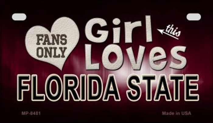 This Girl Loves Her Florida State Novelty Metal Motorcycle Plate MP-8481