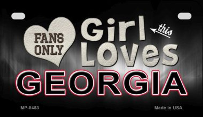 This Girl Loves Her Georgia Novelty Metal Motorcycle Plate MP-8483